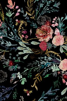 Fable  Floral (black) by nouveau_bohemian - Hand drawn colorful florals on a black background on fabric, wallpaper, and gift wrap.  Beautiful textured floral pattern with a vintage feel.