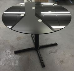 Elliot Glass Kitchen Dining Table Made to Measure Top with Black Cast Iron Table Frame and Base