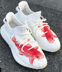 Eezy 350 v2 cream Red fish customz. #DopeKickz