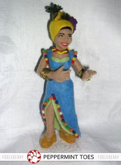Needle Felted CARMEN MIRANDA Doll - Original Wool Art - Fogleberry - 1940s Movie Star - Singer - Dancer - Rumba - Cha Cha Cha Music by Sarah and Elizabeth of PepperminToes on Etsy