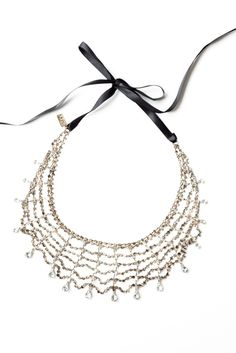 Chain Link Statement Necklace with Ribbon Tie