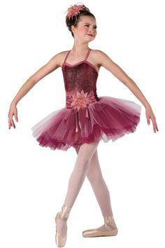 Style# 17325 SWEET ROMANCE Burgundy tie-dye glitter misted velvet leotard with rose satin spandex overlay and straps. Separate pink tulle, burgundy chiffon and rose glimmer chiffon tutu. Flower and spandex binding trim. Headpiece included. SC-XXLA