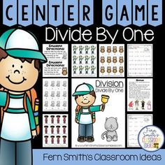 Just Published! Division Quick and Easy to Prep Math Center Game for Dividing By One. Play these center games three different ways based on your students' ability. Division Basic Facts Only, Missing Number Only or Mix and Match all the cards for an advanced game. #FernSmithsClassroomIdeas