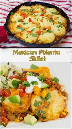 This One Pan Mexican Polenta Skillet is quick and easy to make, full of flavor, and easy to clean up. A simple side salad and dinner is served! Polenta Recipes, Skillet Recipes, Polenta Ideas, Cornmeal Recipes, Polenta Cakes, Skillet Meals, Breakfast Recipes, Dinner Recipes, Dinner Ideas