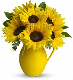 T153-1A Sunny Day Pitcher of Sunflowers--love sunflowers & these are just so bright and happy in the yellow pitcher!