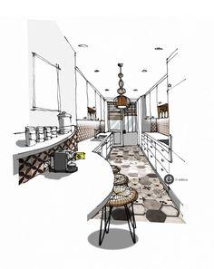 Interior Architecture Drawing, Interior Design Renderings, Drawing Interior, Interior Rendering, Interior Sketch, Interior And Exterior, Architecture Design, Perspective Sketch, Interior Design Presentation
