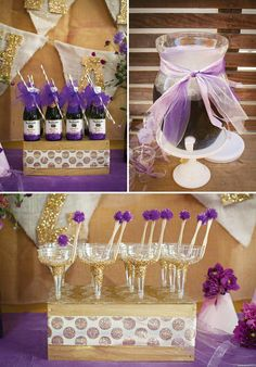 glitter bottles & glasses, Groovy & Glitzy Purple Haze First Birthday Party