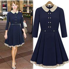 Navy Blue Knee Length Dress