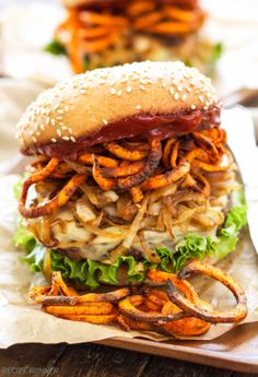 This is one loaded veggie burger! Sante Fe Veggie Burger with Carmelized Onions, Sweet Potato Fries and Chipotle Ketchup