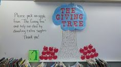 giving tree for meet the teacher night by Geneva Fossen