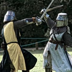 Knight crusader period sword fight armored great helm