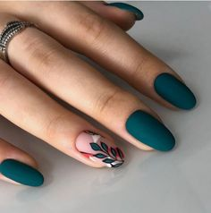 140 flowers nails design trends for spring – page 1 Stylish Nails, Trendy Nails, Cute Acrylic Nails, Cute Nails, Cute Nail Art, Emerald Nails, Minimalist Nails, Dream Nails, Nagel Gel