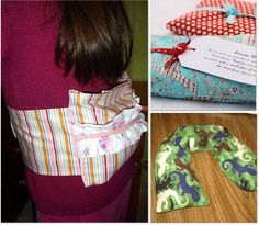 I make these neck warmers all the time with rice--have to try it with wheat! Would be lighter.