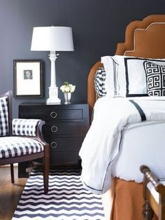 Black & white chevron rug/chair/bedding/nightstand/everything!