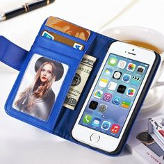 Wallet Style Case For Apple iPhone 5 5S 5G/ iphone SE Flip PU Leather Case with Photo Frame & Card Holder Smart Stand Cover