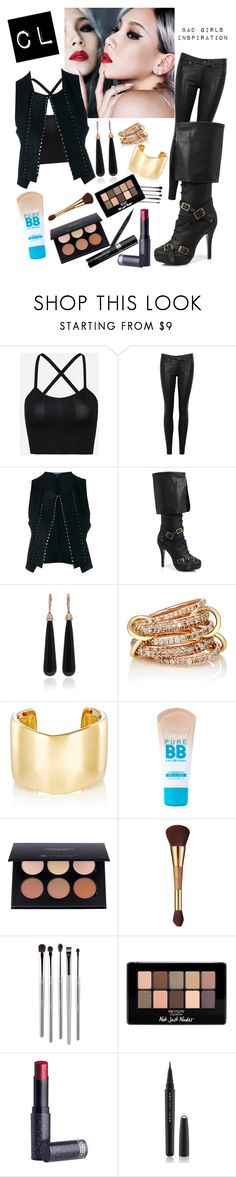 """""""CL - Bad Girls MV Inspired Outfit"""" by natsuforyou ❤ liked on Polyvore featuring rag & bone/JEAN, Ann Demeulemeester, Ellie Shoes, SUSAN FOSTER, SPINELLI KILCOLLIN, Jennifer Fisher, Maybelline, tarte, esum and Revlon"""