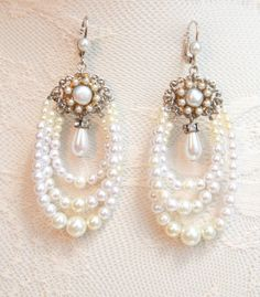 Pearl Chandelier Earrings Silver Filigree Bridal by mylittlebride, $69.00