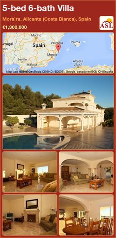 Villa for Sale in Moraira, Alicante (Costa Blanca), Spain with 5 bedrooms, 6 bathrooms - A Spanish Life Murcia, Valencia, Electric Blinds, Alicante Spain, Double Garage, Double Glazed Window, Central Heating, Seville, Property For Sale