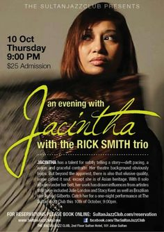 Sultan Jazz Club Singapore with Jacintha Abisheganaden - vocals, Rick Smith - guitar Christy Smith - Double Bass