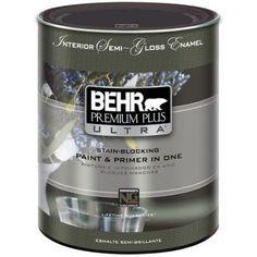 BEHR Premium Plus Ultra 1-qt. Ultra Pure White Semi-Gloss Enamel Interior Paint-375004 - The Home Depot