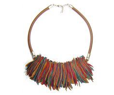 Colored Leather Necklace  Bib Necklace  red brown by FILIZASLI, $48.00