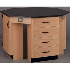 Stevens ID Systems Science Workstation Color: Evening Tigris, Frame Finish: Medium Oak, Surface Type: Laminate