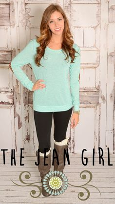 This mint elbow patch sweater is so comfy and soft! Be sure to snag your size before is gone. Come check out all our NEW ARRIVALS!