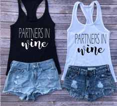 Excited to share this item from my shop: Partners in Wine wine tanks girls weekend bachelorette tanks wine tasting tanks best friend tanks besties tanks bad and boozy beer Weekender, Girls Weekend Shirts, Besties, Bridal Party Shirts, Bachelorette Party Shirts, Best Friend Shirts, Drinking Shirts, Tank Girl, Partner