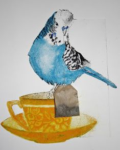 This piece really stands out because it has really bright colours which attracts the eye. I love how she he used a real objects (the tea bag). This makes the piece original and creative.