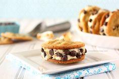 Toasted Marshmallow Ice Cream Cookie Sandwiches | www.chocolatemoosey.com