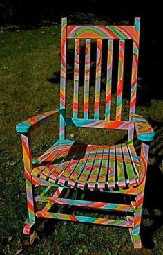 Artist unknown...quite a grooving rocking chair!! Peace & Love