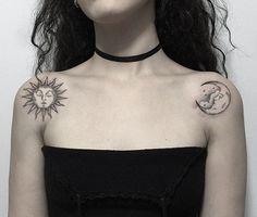 @marla_moon instagram shoulder moon and sun tattoo