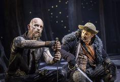 Aidan Kelly (Bill Bones) and Daniel Coonan (Black Dog) in Treasure Island at the National Theatre, London. Photo by Johan Persson