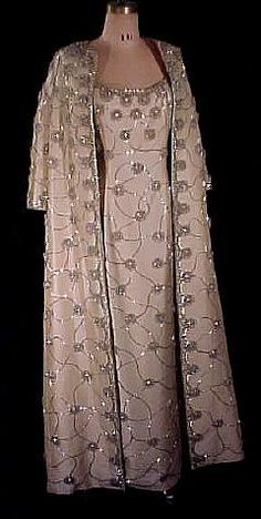 Jackie Kennedy's inaugural gown. 1961 Fully Beaded Silk Shantung Gown with Matching Beaded Coat ...Gorgeous ensemble for a winter wedding. Ask your dressmaker for fabric suggestions that fit your budget.