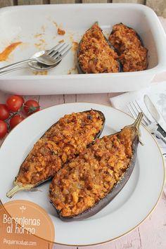 enas al horno Eggplant Rollatini Recipe, Veggie Main Dishes, Meat Recipes, Healthy Recipes, Tandoori Chicken, Tapas, Food Photography, Food And Drink, Veggies