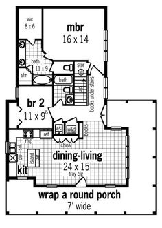 2BR, 2bath, porch!!Plan No.487341 House Plans by WestHomePlanners.com