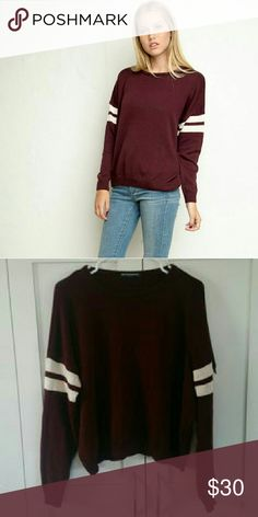 Brandy Melville maroon Veena varsity sweater In great condition! Minimal piling/fuzz, no pulls in sweater Perfect for layering & goes great with jeans, shorts, and skirts! Brandy Melville Sweaters