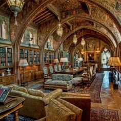 13 Stunning Libraries That Look Like Hogwarts The Gothic Study at Hearst Castle in San Simeon, California, is a dramatic, beautiful old library we'd love to see with our own eyes.<br> In honor of National Library Week. Library Week, World Library, Dream Library, Grand Library, Victorian House Interiors, Victorian Terrace, Victorian Parlor, Trieste, Kingston