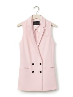 Banana republic Double-breasted Long Vest in Pink (Blush)