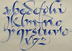 wonderful qi in your calligraphy strokes - calligraphy alphabet by rainer wiebe - calligraphy masters Gothic Lettering, Cool Lettering, Graffiti Lettering, Script Lettering, Calligraphy Letters, Typography Letters, Graffiti Alphabet Styles, Yi King, Tattoo Lettering Styles