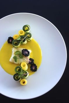 Sea Bass with Meyer Lemon Puree and Zucchini Salad #plating #presentation www.farmonplate.com