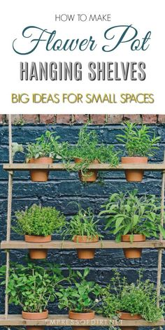 These hanging potted shelves from the book, Big Ideas for Small Spaces, offer a creative way to add vertical, green space to your little garden. Grow a mini herb garden or add trailing, flowering annuals for a burst of colour. #gardenideas #gardening #diy #plantshelves #creativegardening #empressofdirt #verticalgardening