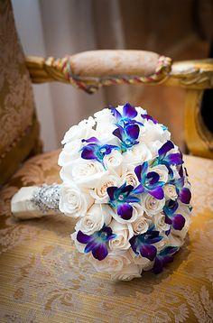 Vibrant Multicultural Wedding Glam purple and white wedding bouquet - white roses + purple and blue orchids {Joshua Zuckerman Photography} Purple Wedding Bouquets, Bride Bouquets, Blue Wedding, Trendy Wedding, Boquet, Blue Orchid Bouquet, Flower Bouquets, Dream Wedding, Bouquet Wedding