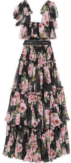 Dolce & Gabbana - Shirred Floral-print Silk-chiffon Gown - Black