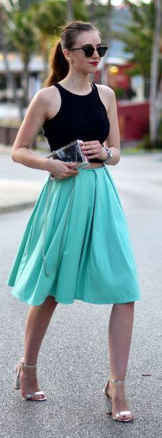 Mint Midi Skirt                                                                             Source