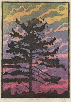 David's Tree is an original three-block hand-carved color woodcut print from a limited edition numbered 4 of 11.
