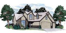 1600 sf 2 story Elevation of European   House Plan 62592