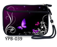 Purple Butterfly Portable Zipper Shockproof HDD Case Bag Cover For 2.5'' Hard Disk Drive External Pouch