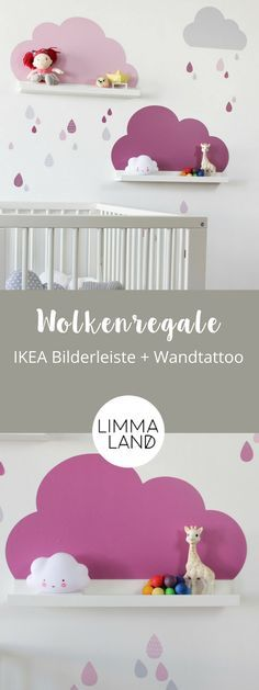 Clouds Nursery Decor: With wall decals suitable for the IKEA Picture Bars. - Meral Kösem - - Clouds Nursery Decor: With wall decals suitable for the IKEA Picture Bars.