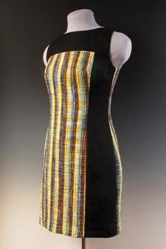 """Daryl Lancaster """"VIBRATION"""" Dress of repurposed handwoven fabric from Rayon, cotton, silk. Inkle Weaving, Hand Weaving, Clothing Patterns, Dress Patterns, Clothing Store Displays, Traditional Fabric, Fashion Project, Fashion Fabric, Handmade Clothes"""